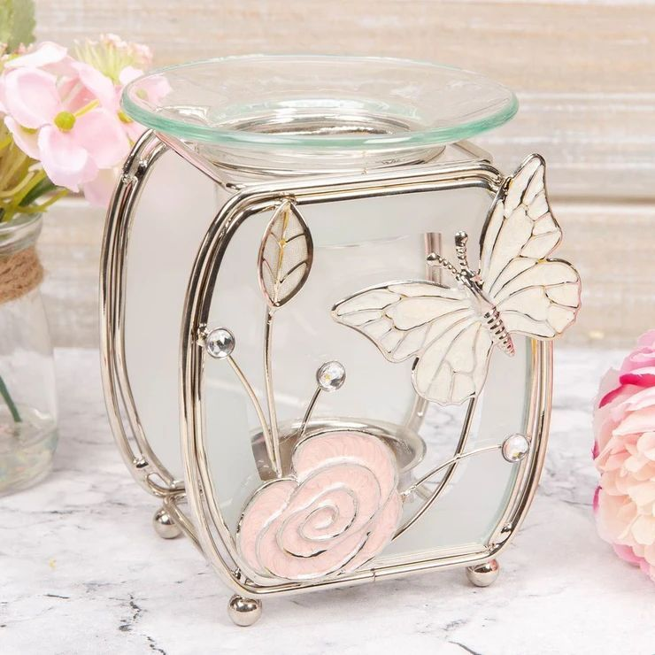 SOPHIA FROSTED GLASS & WIRE OIL BURNER - BUTTERFLY