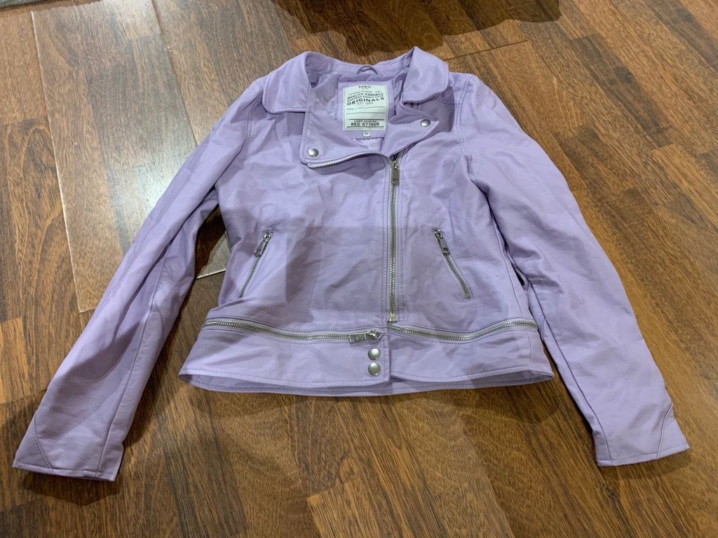 Lilac leather jacket 12-13 years