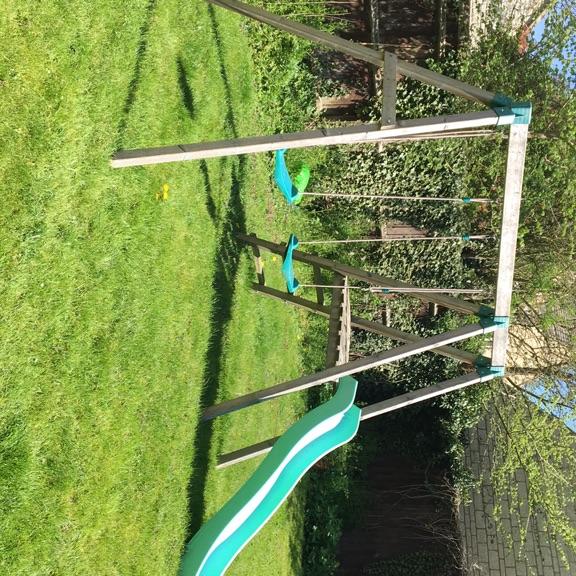Children's slide and swings