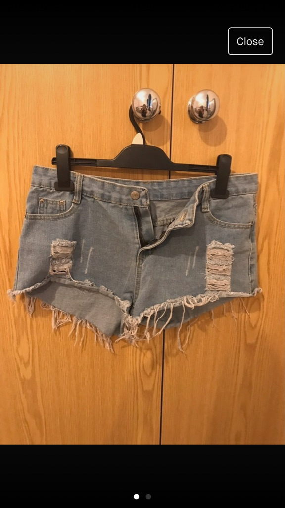 Ladies Ripped Denim Shorts
