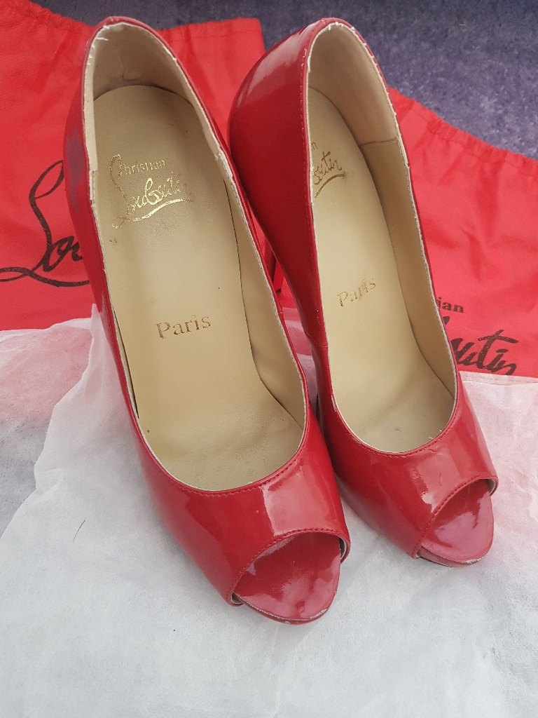 Red peep toe shoes Size 5