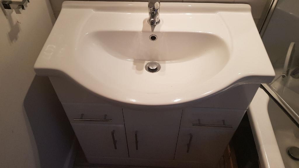 Alexander James vanity cabinet with sink and taps & mirror