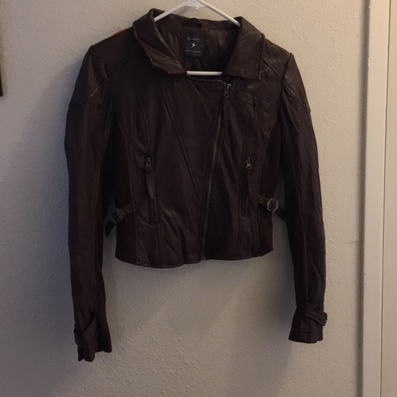 Brown/ maroon Forever 21 faux leather jacket