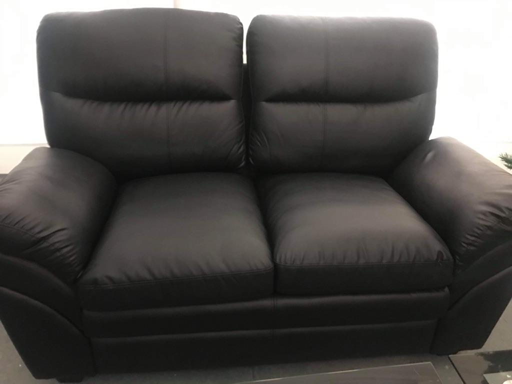 New Soft Black Faux Leather Sofa