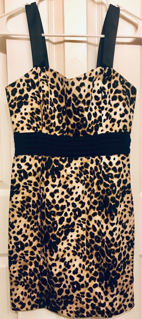 Leopard black and brown mini dress