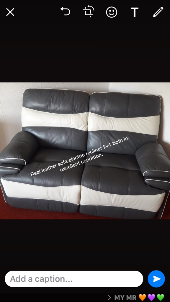 Electric recliner leather sofa 2+1