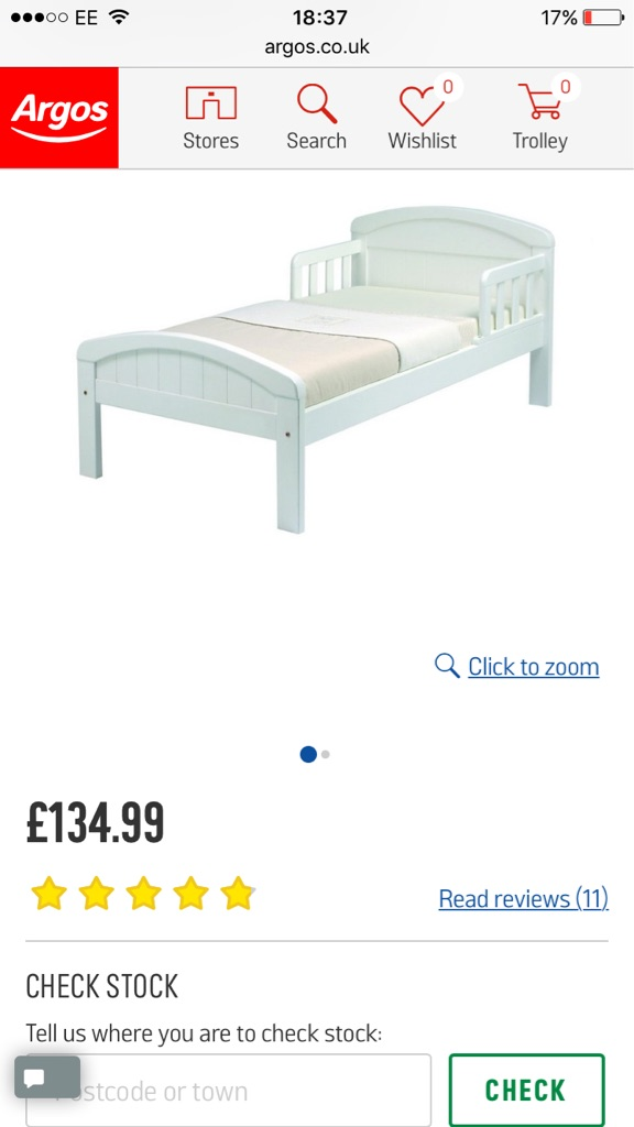 Toddlers single bed and silent night mattress