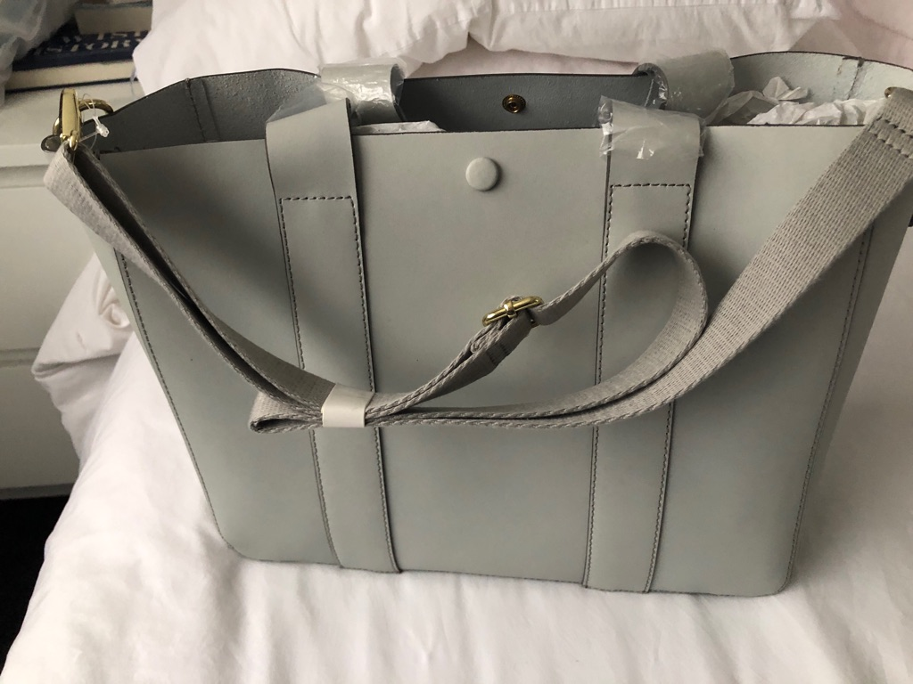 Gap Dove Grey Leather Tote brand new