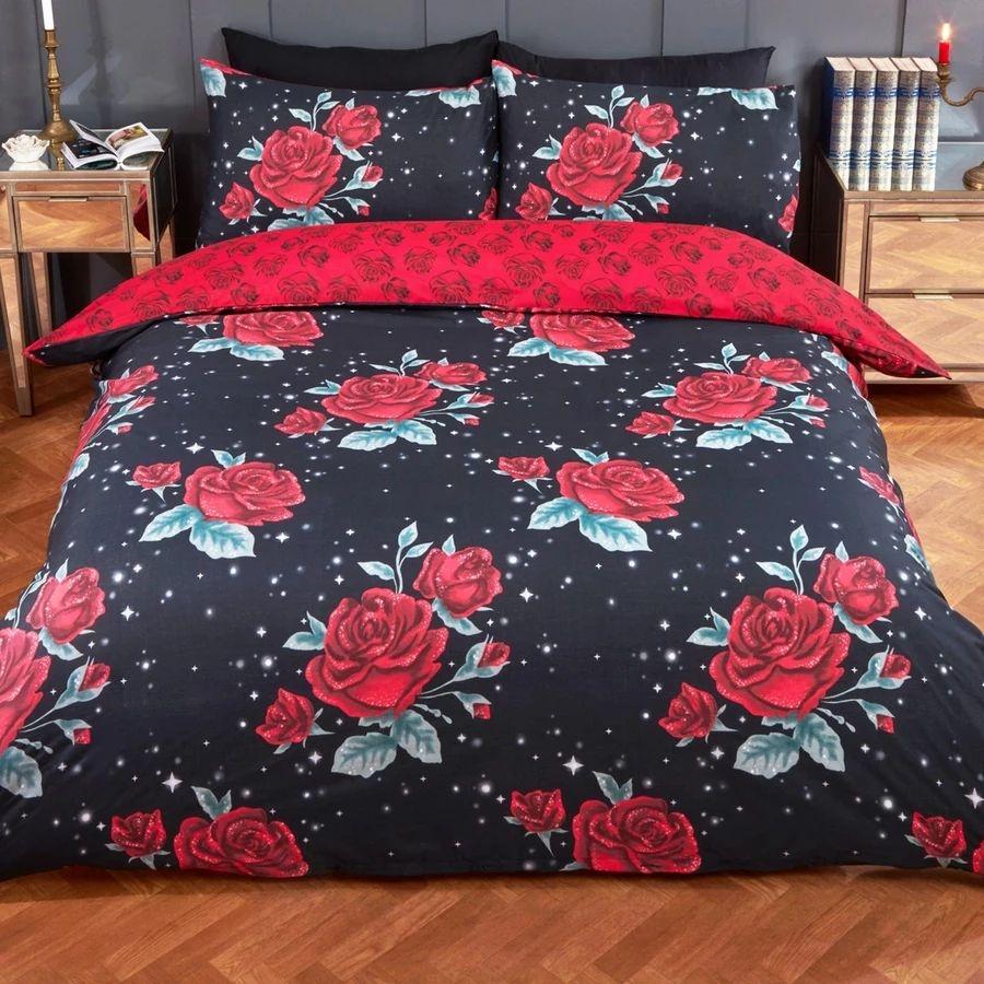 Dreamscene Rose Garden Duvet Set - Black