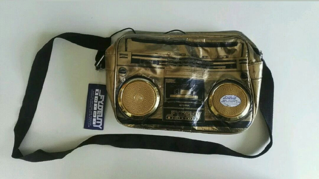 Gold bag with built in speakers!