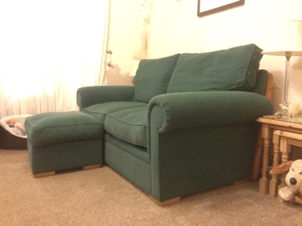 Three seater sofabed, armchair & Footstool