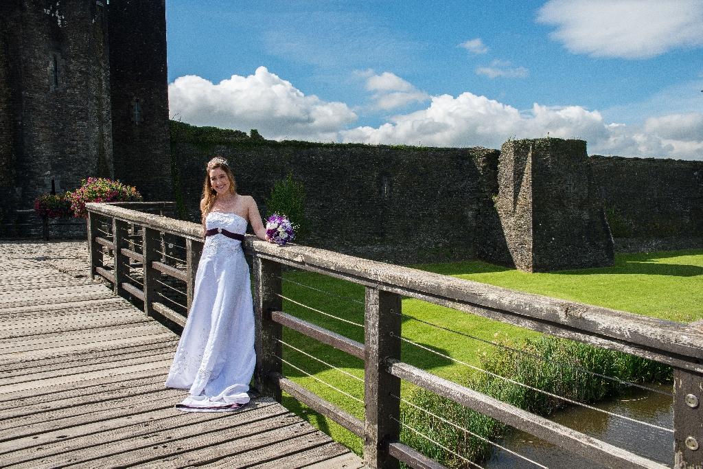 Purple and white wedding dress size 10