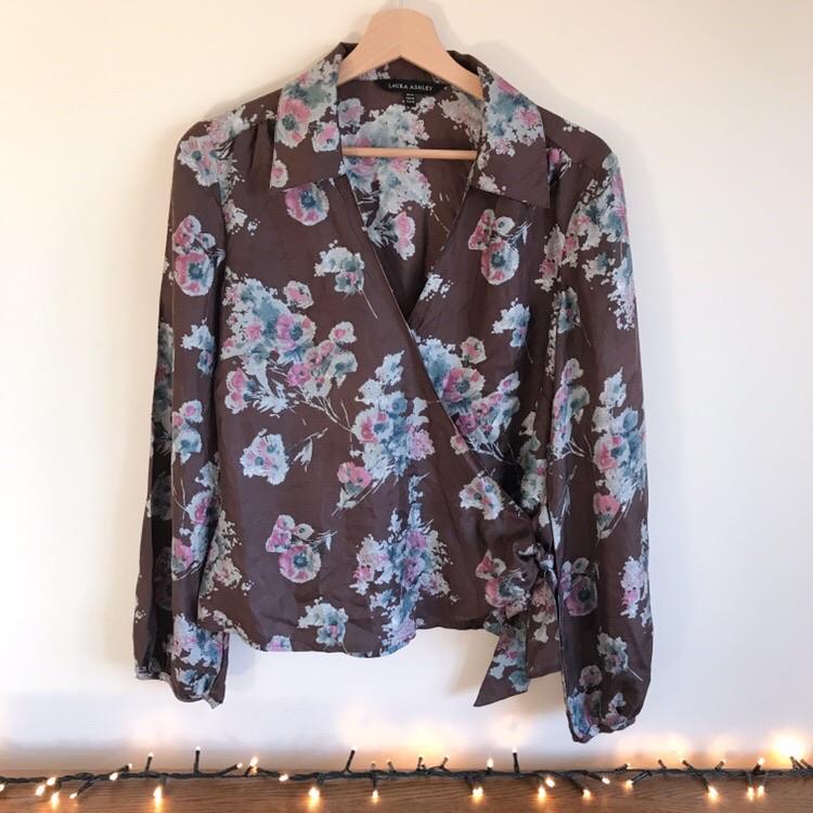 Laura Ashley 100% Silk Floral Wrap Shirt
