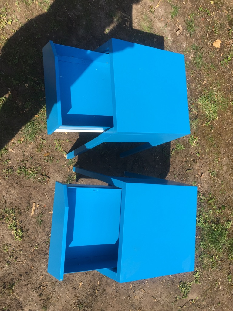 Vibrant blue side cabinets