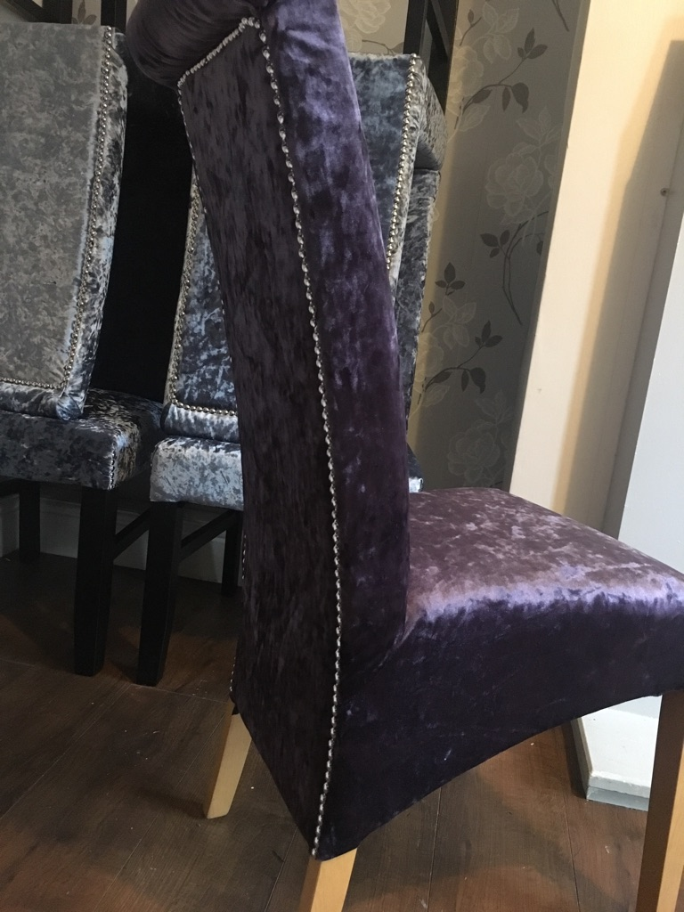 4 lilac crushed velvet chairs