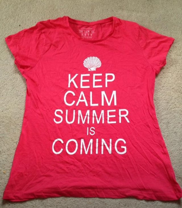 Red/Pink Keep Calm Summer Is Coming T-Shirt, Size 14