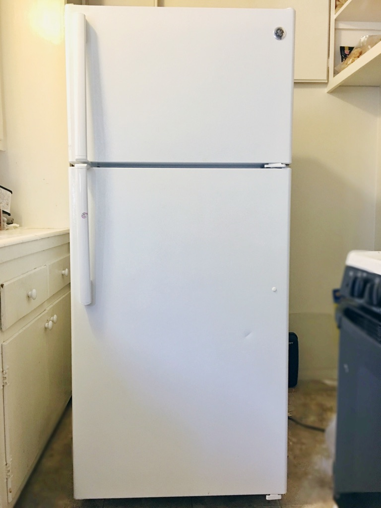 "GE GTE16DTHWW Top Freezer Refrigerator - 28"" - 15.5 cu ft - White only used it for one year. Must go quickly!!"
