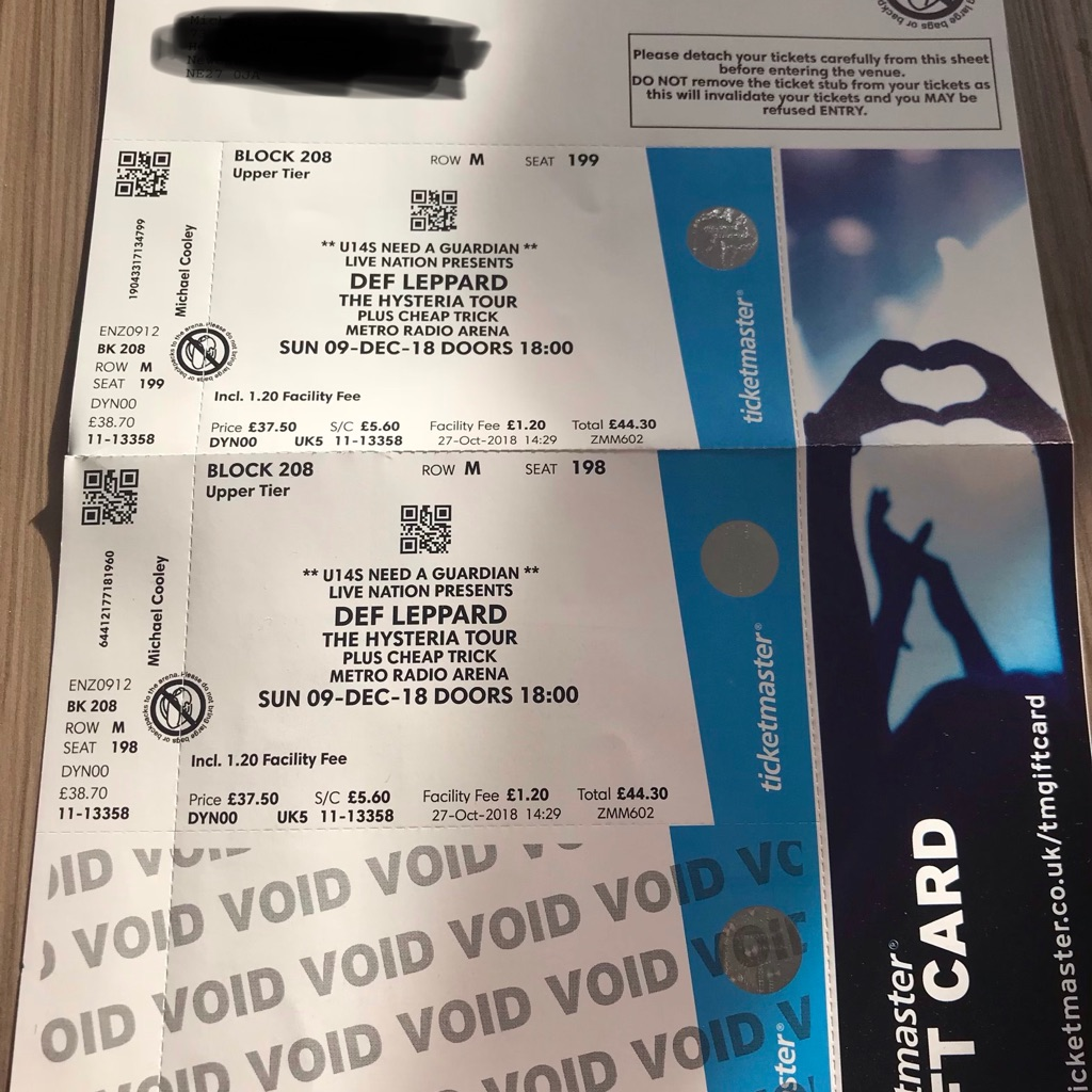 Def leppard tickets x2