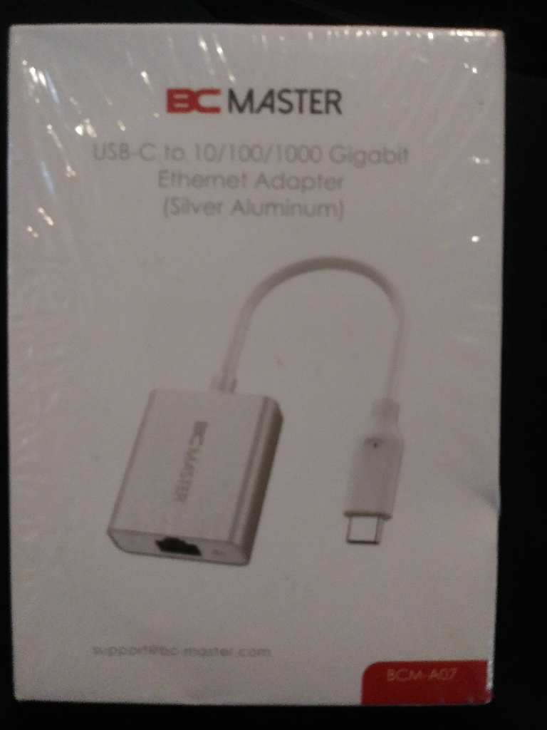BC Master USB Type-C to Gigabit Ethernet RJ45 Adapter Supporting 10/100/1000 bit Ethernet