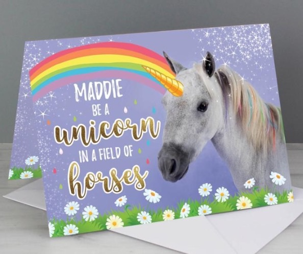 Personalised 'unicorn' greeting card