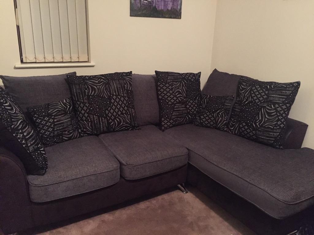 Black/Grey Corner Sofa and Armchair Set