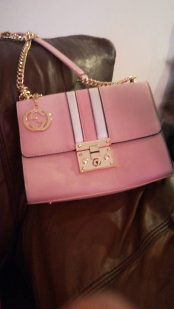 Pink gold chain bag