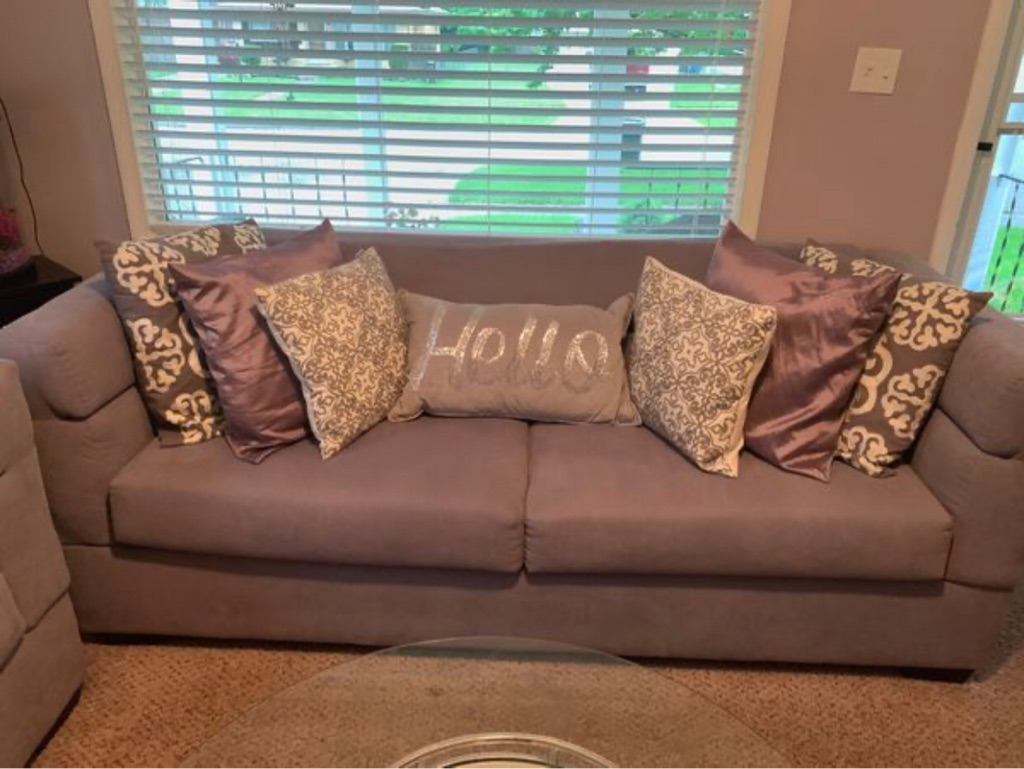 Grey couch and love seat