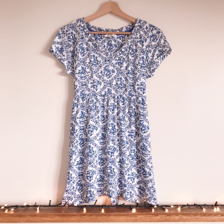 FatFace Blue and White Floral Bird Print Top