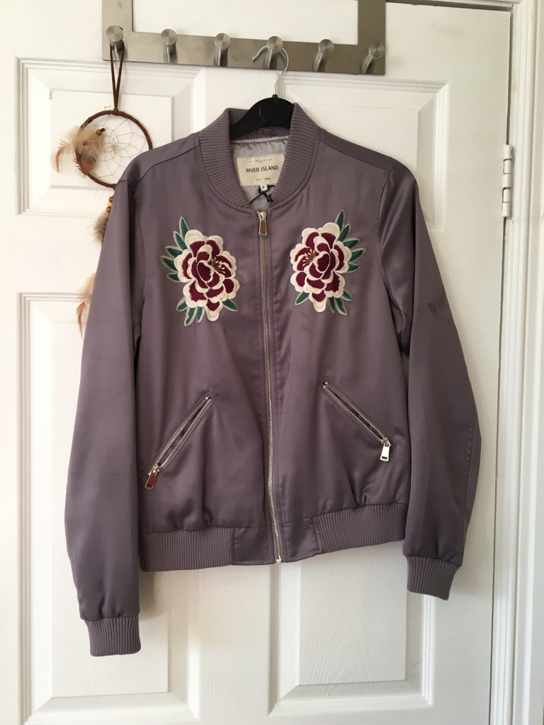 River Island Silky Embroidered Jacket size 8