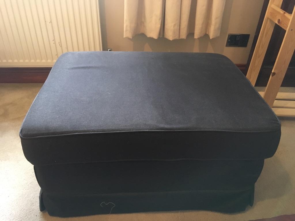 Black storage footstool