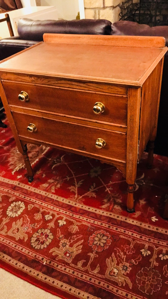 Solid wood two draws