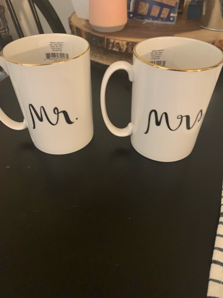 Mr. and Mrs. Kate Spade mugs: new