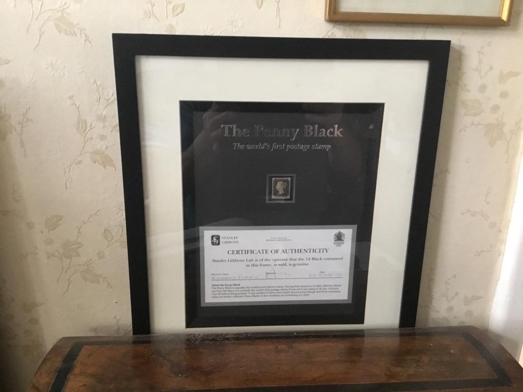 SG2 penny black 1840 red meltese cross 4 good margins COA from Stanley gibbons framed VFU