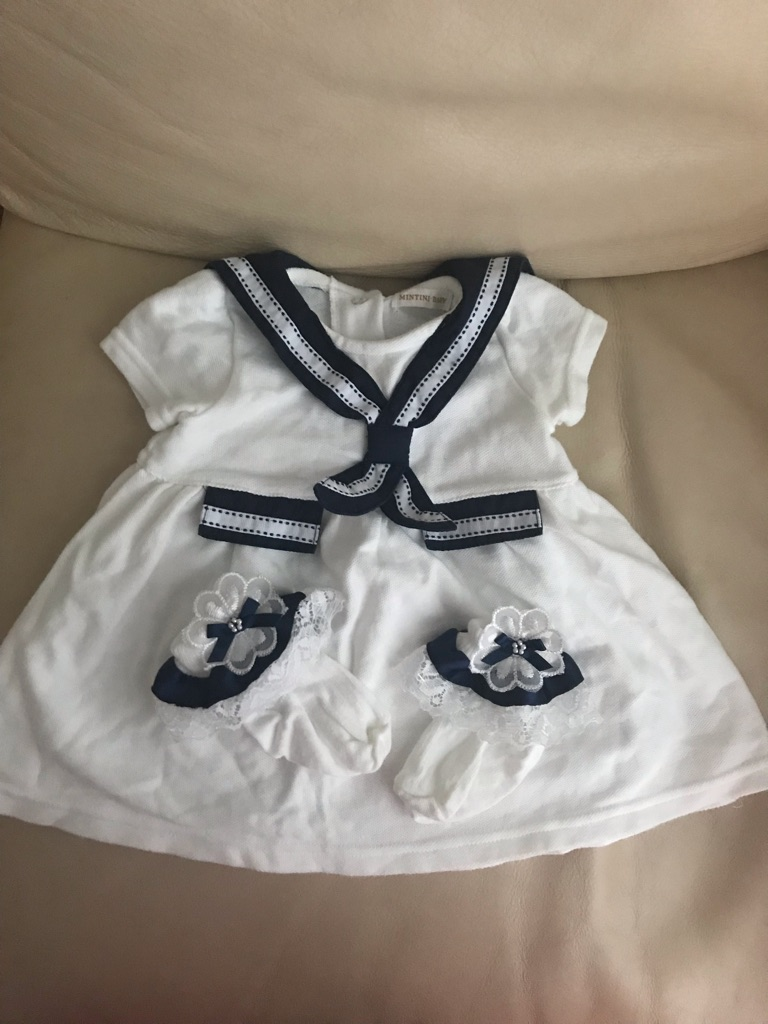 Girls Mintini Baby Sailor Dress and Matching Socks.