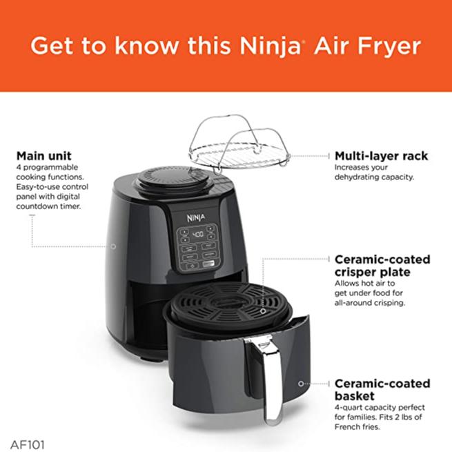 Ninja AF101 Air Fryer, 4 Qt, Black/gray $119.99 35% 0ff