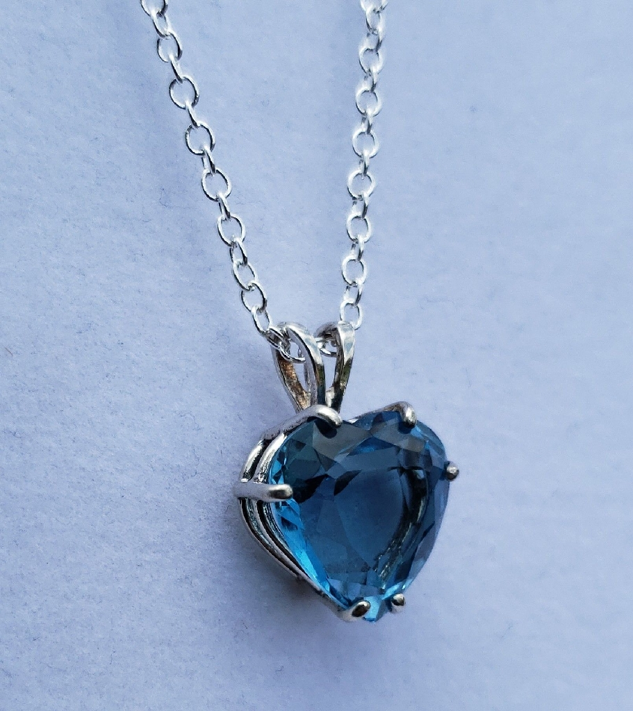 Heart Swiss Topaz Sterling Silver Necklace