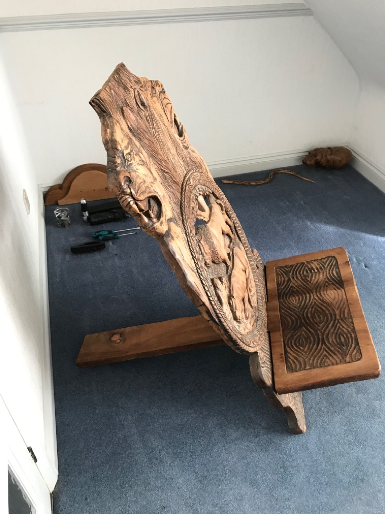 South African hand carved hardwood 'King's Chair'