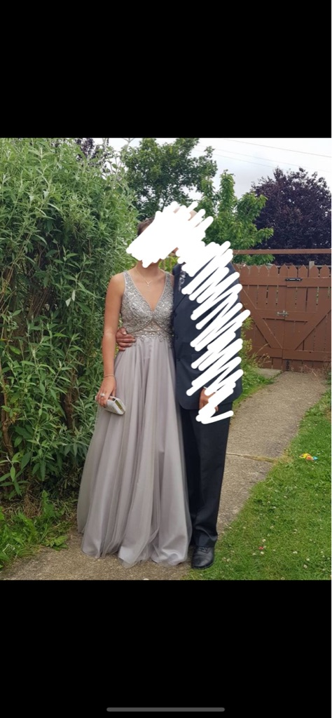 Silver embellished prom ball gown size 10