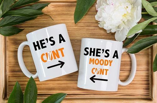 Rude funny novelty mugs set