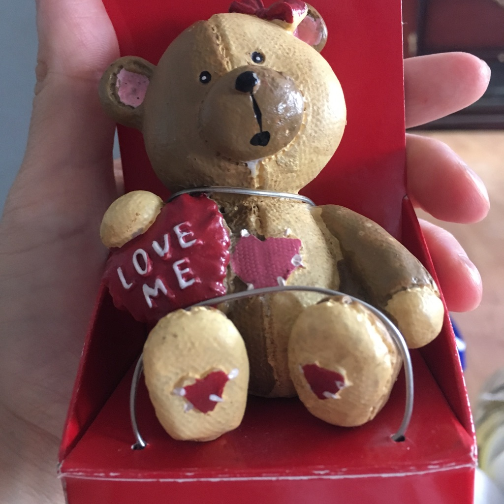 Love me teddy bear figurine