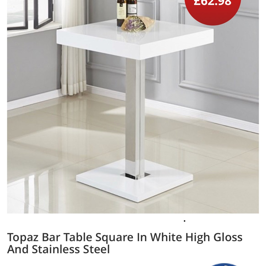 White gloss bar table