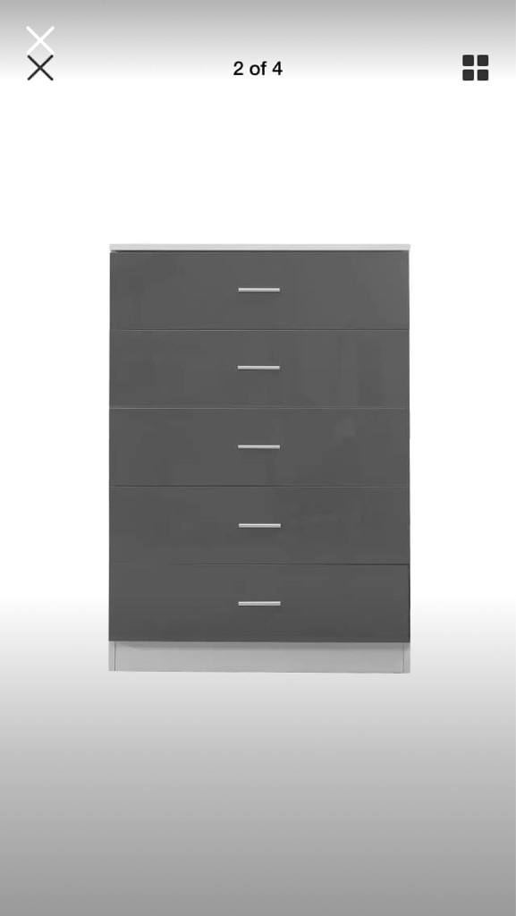 MDF GREY HIGH GLOSS 5 draw Chest of Drawers