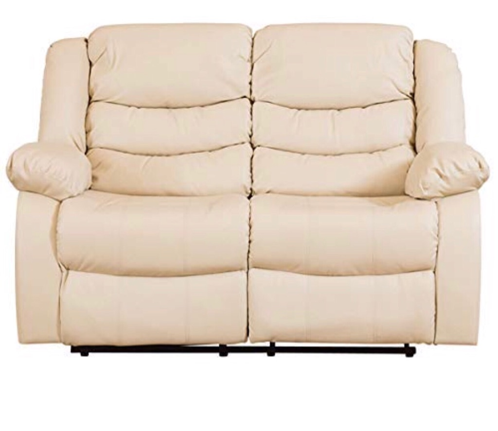 White leather recliner 2 seater and chair