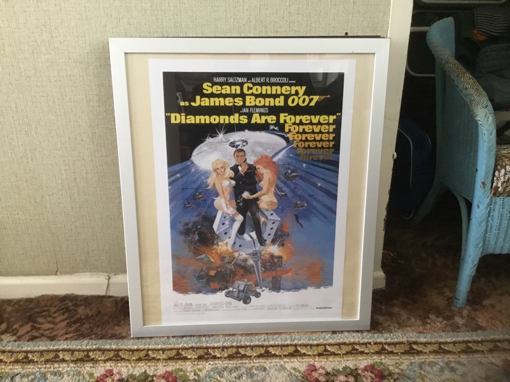 James Bond agent 007 diamonds are forever Sean Connery cinema poster 26in 22in framed