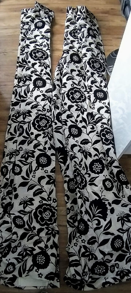 Black and white floral curtains