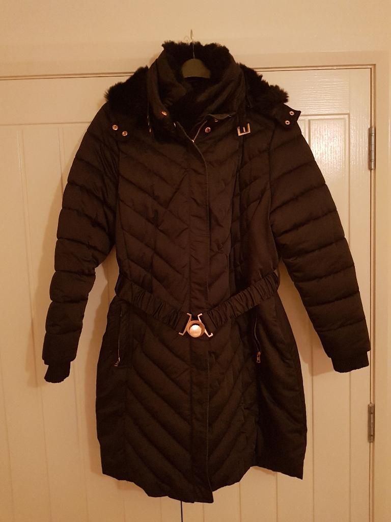 Ladies smart black insulated coat