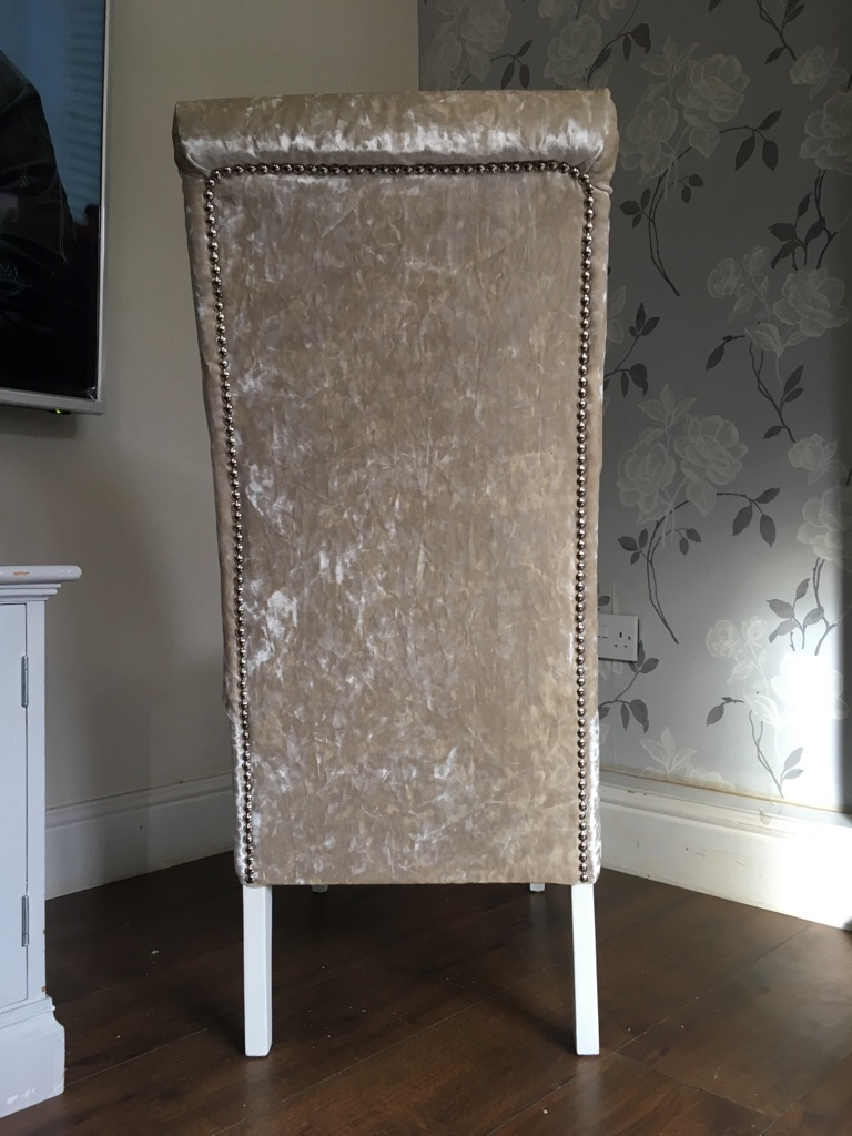 4 newly upholstered champagne chairs