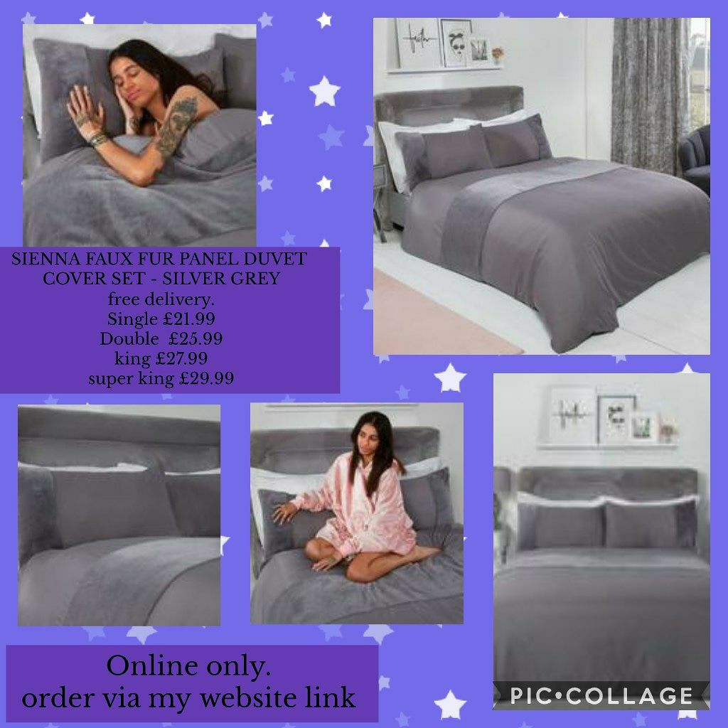 🛌SIENNA FAUX FUR PANEL DUVET COVER SET - SILVER GREY 🛌Single £21.99 🛌Double £25.99 🛌King £27.99 🛌Superking £29.99 🚛free delivery.🚛