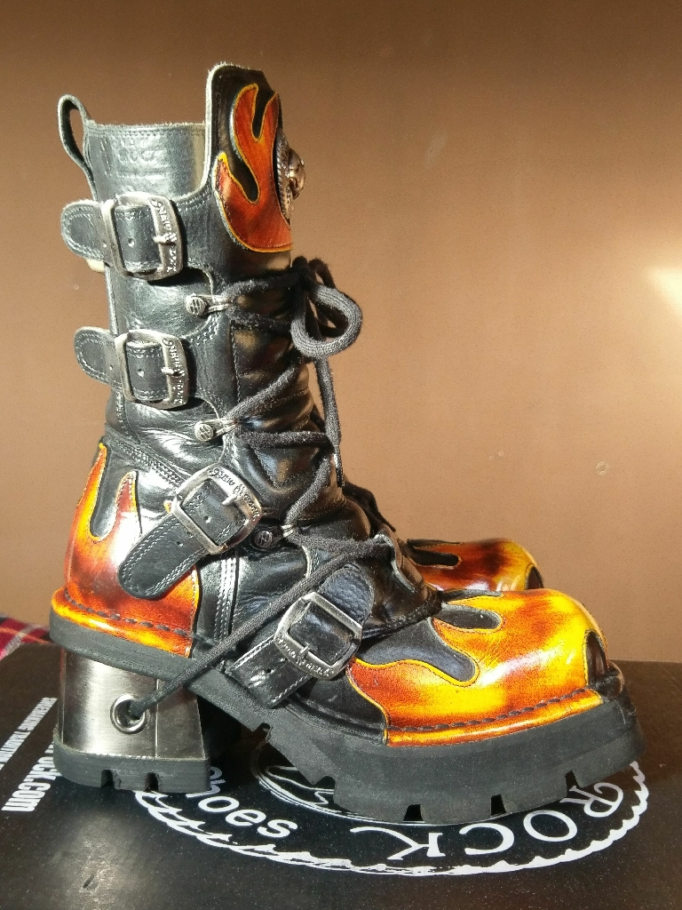 Ladies black and orange flame New Rock boots Size 7 EU 41