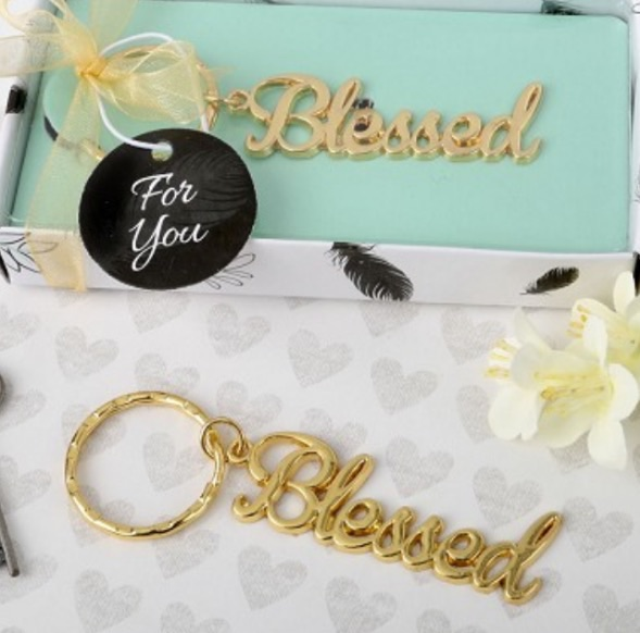 Blessed theme gold metal key chain